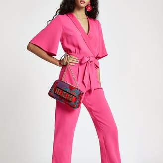 River Island Womens Pink tie front short sleeve jumpsuit