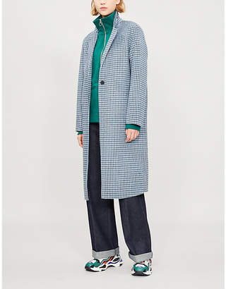 Sandro Breve check-print wool duster coat
