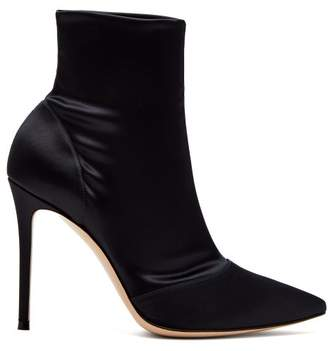 Gianvito Rossi Elite 100 Stretch Satin Ankle Boots - Womens - Navy