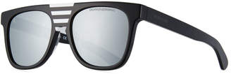 Calvin Klein Flattop Acetate Mirrored Sunglasses w/ Contrast Striped Nose Bridge