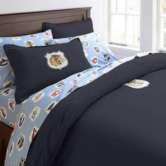 Pottery Barn Teen NHL Patch Duvet Cover, Twin, Navy, Flames Calgary