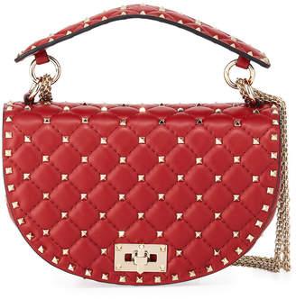 Valentino Rockstud Spike Napa Leather Saddle Bag