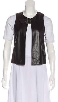 Etro Leather Scoop Neck Vest