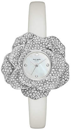 Crystal rose leather watch $275 thestylecure.com
