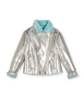 Billieblush Faux-Fur Lined Metallic Moto Jacket, Size 4-8 $152 thestylecure.com