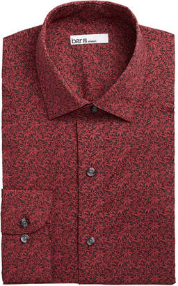 Bar III Men's Slim-Fit Stretch Poinsettia Floral Print Dress Shirt, Created for Macy's
