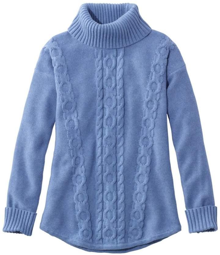 L.L.Bean Double L Mixed-Cable Sweater, Turtleneck