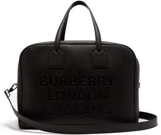 Burberry Logo Debossed Grained Leather Bag - Mens - Black