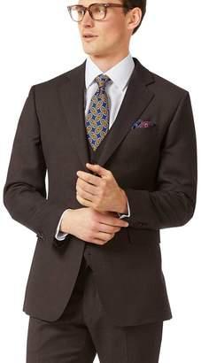 Charles Tyrwhitt Brown slim fit birdseye travel suit jacket