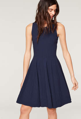 Milly TEXTURED MOSAIC FLARE DRESS