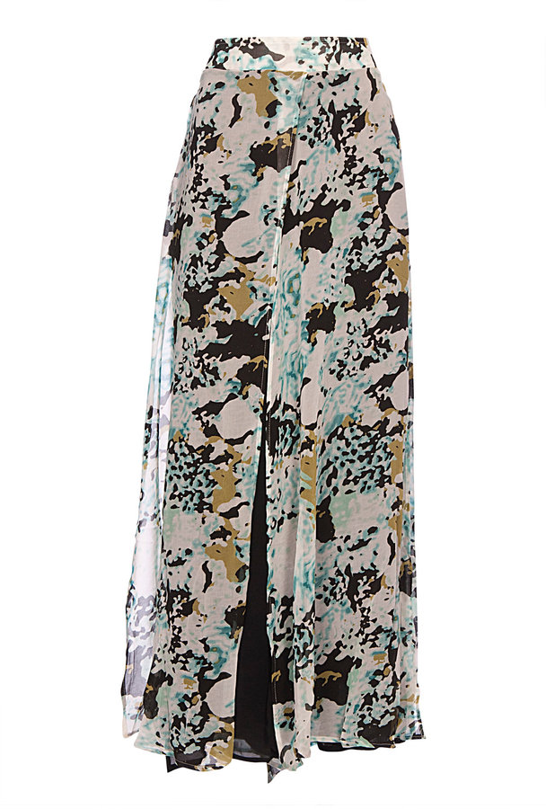Staple The Label Teal Time Print Split Maxi Skirt
