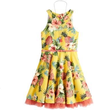 Knitworks Girls 7-16 Printed Skater Dress & Necklace Set
