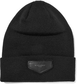 Leather-trimmed Ribbed-knit Beanie - Black