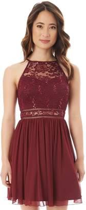 Iz Byer Juniors' Lace Illusion Skater Dress