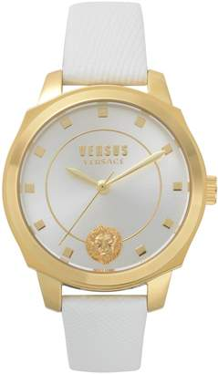 Versace Goldtone Stainless Steel Quilted Leather Strap Watch