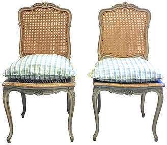 One Kings Lane Vintage Antique French Painted Carved Chairs - PR - Vermilion Designs