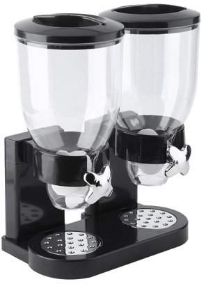 Balance Bar Double Chambers Dry Food Cereal Dispenser Airtight Dual Control Container