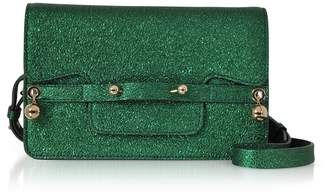 RED Valentino Dark Green Crackled Metallic Leather Flap Top Crossbody Bag