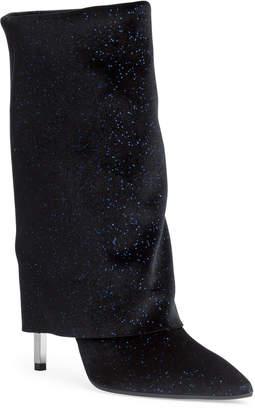 Balmain Babette 100 dark blue glitter velvet boots