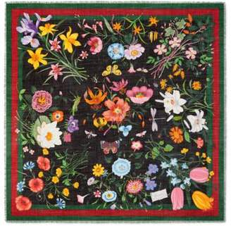 Gucci Flora Web print wool silk shawl