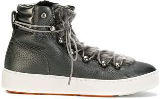 Santoni lace-up shearling sneakers
