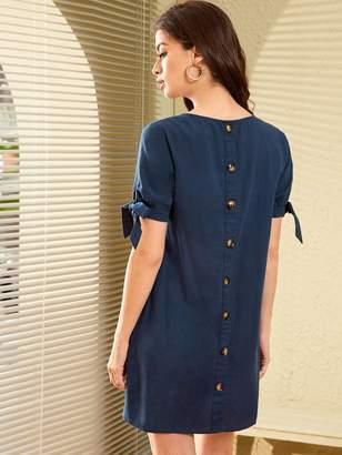 Shein Button Back Knotted Cuff Tunic Dress