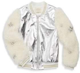 Hannah Banana Little Girl's& Girl's Metallic Faux-Fur Bomber Jacket