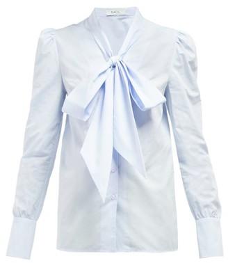 Racil Agata Pussy Bow Cotton Shirt - Womens - Light Blue