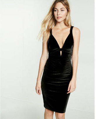 Express plunging v-neck velvet  dress $79.90 thestylecure.com