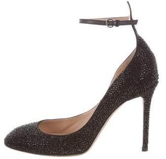 Valentino Strass-Embellished Ankle Strap Pumps