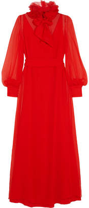 Lanvin - Appliquéd Silk-mousseline Gown - Red $4,920 thestylecure.com