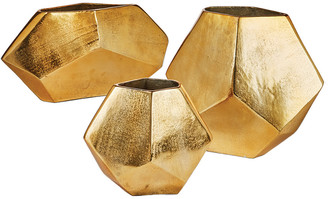 Twos Company Two's Company Set Of 3 Gld Diamond Shape Vase