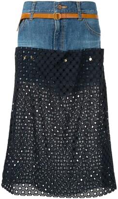 Kolor perforated jean skirt