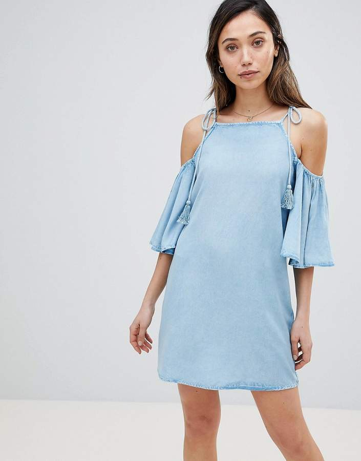 Influence Cold Shoulder Chambray Beach Dress