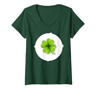 Womens Fun Good Luck Clover Bear Costume Halloween Edition V-Neck T-Shirt