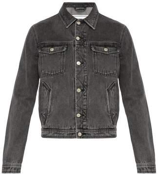 Ami Stonewashed Denim Jacket - Mens - Black