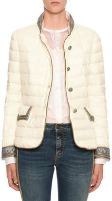 Ermanno Scervino Embellished Quilted Button-Front Jacket
