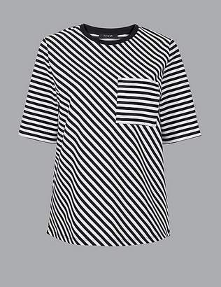 Marks and Spencer Striped Round Neck Short Sleeve T-Shirt