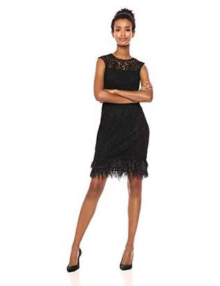 Calvin Klein Women's Lace Sheath with Feather Trim
