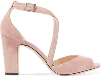 Jimmy Choo Carrie 85 Suede Sandals - Neutral