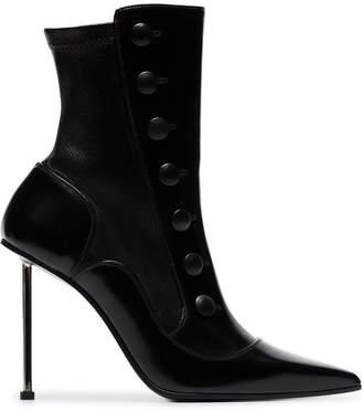 Alexander McQueen black 105 stiletto heel leather ankle boots