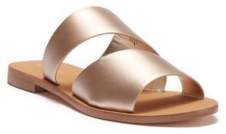Nine West Em Down Metallic Leather Slide Sandal