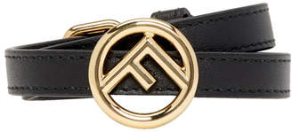 Fendi Black Leather F is Bracelet