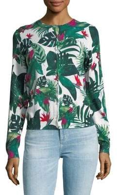 Lord & Taylor Plus Rain Forest-Print Cotton Sweater