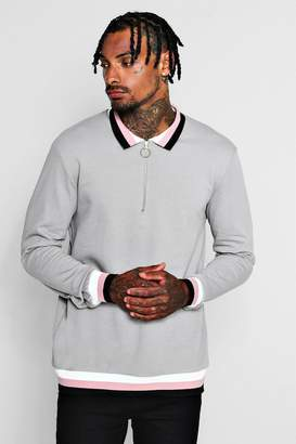 boohoo Zip Placket Rugby Sweater With Sports Rib
