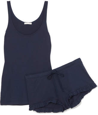 Skin - Essentials Ribbed Pima Cotton-jersey Pajama Set - Navy