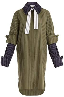 J.W.Anderson Double Cuff Pinstriped Cotton Shirtdress - Womens - Khaki Navy