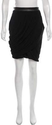 Rag & Bone Leather-Accented Knee-Length Skirt