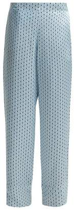Asceno - Silk Pyjama Trousers - Womens - Blue Print