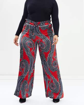 Scarf Printed Wide Leg Trousers